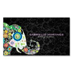 Leave a impressive first impression with these colorful retro floral elephant and black damask business card. Colorful retro flowers in a shape of an elephant over black vintage floral damasks. Fully customizable business card on the product page.