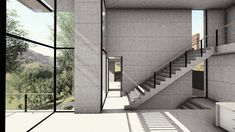 A rendered view of our recent submission to a competition for a house that was to be built at Montserrat, in Spain! We had so much fun doing this project and wish we could build this house in real life.      #architecture #design #render #competition #minimalism #modern #view #stairs #concrete #montserrat #architecturecompetition #house #spain
