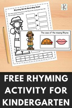 Our free sorting mats will help your kindergarten students practice their rhyming skills. Kids will enjoy this simple rhyming activity and become word detectives! It is a great way to develop phonological awareness! Click through to grab your freebie. Rhyming Activities, Free Activities, Free Worksheets For Kids, Rhyming Pairs, Rhyming Words, Kindergarten Age, Kindergarten Activities, Fake Words