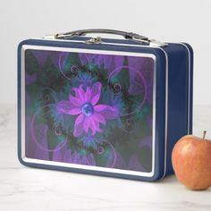 Beautiful Ultraviolet Lilac Orchid Fractal Flowers Metal Lunch Box - kitchen gifts diy ideas decor special unique individual customized