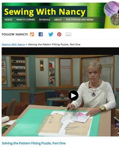 Solving the Pattern Fitting Puzzle as seen on the Sewing With Nancy TV show on PBS