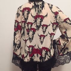 Printed boho kimono Kimono with lace trim LF Other