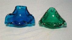 Asking: $56.99/5.80   Two Erickson Green Blue Ashtrays. 4.25 inches.