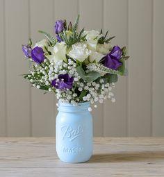 Mason Flower Jar in Parisian Blue - The Flower Studio Wedding Signs, Diy Wedding, Wedding Vintage, Wedding Stuff, Wedding Ideas, Wedding Arrangements, Flower Arrangements, Vintage Flowers, Blue Flowers