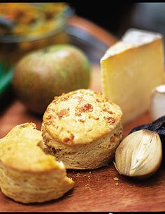 Jamie Oliver, Savoury Scones.  He wrote...    Dead easy to make, and surprisingly nice with a good old Ploughman's lunch!