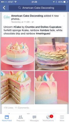 Unicorn poop cake w pastel ombré rainbow frosting