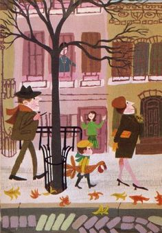 "Cozy, family image from ""Mr. Jolly's Sidewalk Market"" by Laura Jean Allen. Vintage Illustration Art, Autumn Illustration, Book Illustrations, Vincent Van Gogh, Owl Books, Autumn Art, Vintage Children's Books, Estilo Retro, Vintage Pictures"