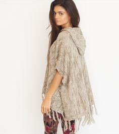 Hooded Knit Poncho Garage ClothingKnit