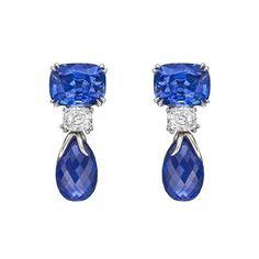Sapphire & Diamond Short Pendant Earrings   From a unique collection of vintage drop earrings at https://www.1stdibs.com/jewelry/earrings/drop-earrings/