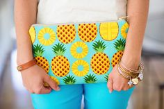 "Shaw Avenue // Pineapple clutch from DaisyFayeDesigns on Etsy, GripeLess pants from Gretchen Scott Designs, Orange pineapple button cardigan, Lilly Pulitzer pineapple sandals, JCrew embellished tank, ""Always"" bracelet from FarmGirlPaints on Etsy  // www.shawave.com"