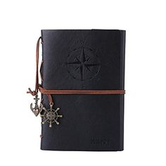 Leather Journal Notebook, MALEDEN Refillable Spiral Daily Notepad Classic Embossed Travel Journal Diary with Blank Pages and Retro Pendants (Black)