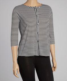 Love this Sole Dione Black & White Stripe Hi-Low Button-Up Top - Women & Plus by Sole Dione on #zulily! #zulilyfinds