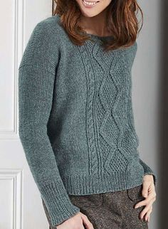 Inspired by fishermen's sweaters, this jumper by Isabell Kraemer has a modern, relaxed look. It uses an attractive array of stitch patterns on the front, worked in a lovely yarn from Baa Ram Ewe. Dovestone DK blends wool from Bluefaced Leicester, Wensleydale and Masham sheep; it feels soft and bouncy, and comes in a range of gorgeous colours inspired by Yorkshire.