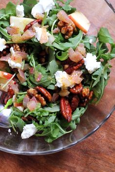 A salad worthy of a spot on your holiday table – arugula, apple, goat cheese and candied pecan salad with cider vinaigrette.