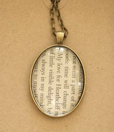 Wuthering Heights book page necklace - 'My Love for Heathcliff' pendant