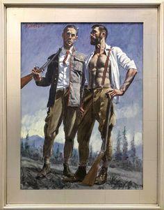 Mark Beard, Bruce Sargeant Two Hunters, One Wearing Suspenders Art Masculin, Beard Art, Queer Art, Art Of Man, Portrait Art, Portrait Paintings, Art Paintings, Art Graphique, Gay Art