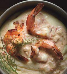 shrimp scampi with preserved lemon and fennel on polenta