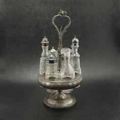 Art Nouveau Victorian Castor Set w Stand 6 Bottles by jodie