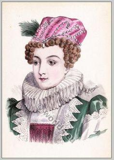 Historic renaissance hairstyles. Marguerite de Navarre (1492-1549)