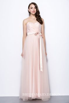 beba9efd5dce Blush Lace and Tulle Empire Strapless Sweetheart A-line Long Bridesmaid  Dress