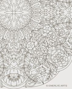 Large Format, complex coloring page by Cynthia Emerlye. 24 inches square - card table sized for group coloring.