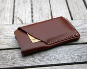 grams28 - iPhone 5 Handmade Leather Case iPhone sleeve with card holder iphone 5 wallet (italian leather).