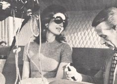 Jackie Onassis with decorator Billy Baldwin on the way to the island of Skorpios, 1968