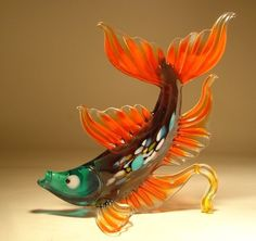 "Blown Glass ""Murano"" Art Figurine Exotic Orange & Green FISH with Fancy Tail"