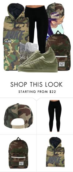 """Untitled #1533"" by honey-cocaine1972 ❤ liked on Polyvore featuring Herschel, NIKE and adidas Originals"