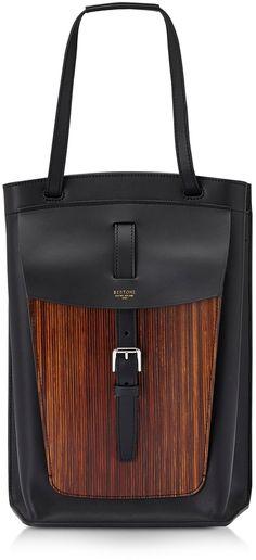 14ee3aceb7a6 Bertoni Arizona Leather and Wood-Effect Tote Bag