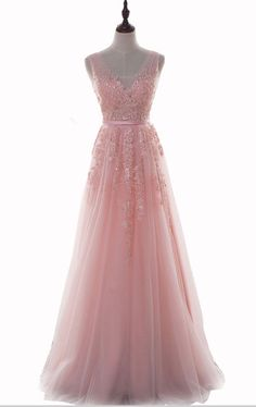 Pink V-Neck Prom Dresses Long Sexy 2017 Imported