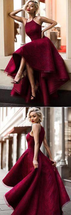 Burgundy Asymmetrical Halter A Line Sleeveless Long #Promdress, #Formaldress