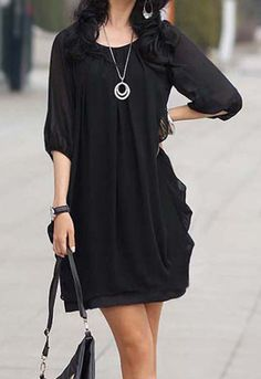 Fashion Long Ruffled Dress Tunic Top Shirt Blouse Black