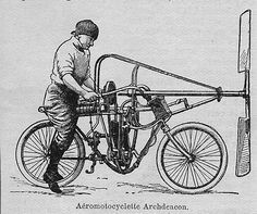 Aéromotocyclette, made by Ernest Archdeacon, in 1906. 6 HP engine, 1.50m propeller, 70 kg, 79 km/h