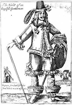 """The Habit of an English Gentleman"",1666 satire on excesses of fashion"