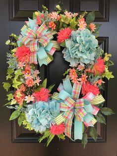 Spring Front Door Wreaths, Spring Door, Easter Wreaths, Holiday Wreaths, Holiday Decorations, Hydrangea Wreath, Front Door Decor, Summer Wreath, Porch Decorating