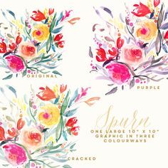 Hand Painted Flower Clip Art Spurn by CreateTheCut on Etsy