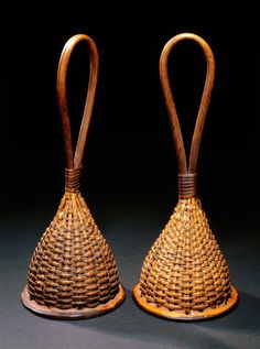 Rattles place madeCameroon culture groupTikar peoples materialsBamboo, gourd, seedpods dimensions40 cm