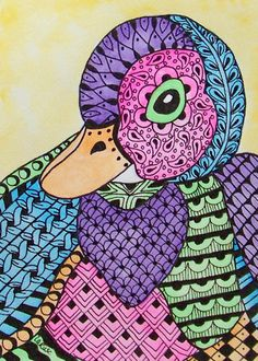 ACEO Le Print Zentangle Duck Bird Animal Easter Doodle Spring Baby Larusc