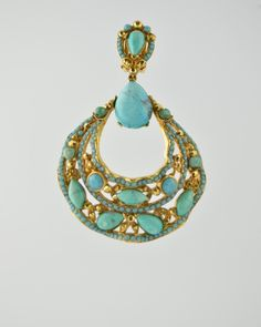 TURQUOISE JEWELED FILAGREE 24 Karat gold plated jeweled encrusted filagree hoop earring with natural turquoise stones and Austrian crystals in turquoise and gold colour. Earring is clip on . Earring is 3 inches long and 2 inches at widest point. Get a 20% discount with promo code: Olusegun683. $440 Chandler Earrings, Filigree Jewelry, Austrian Crystal, Turquoise Stone, Statement Jewelry, Turquoise Necklace, Studs, Hoop Earrings, Pendant Necklace