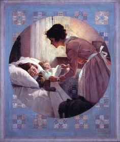 Rockwell%2C+Mother_Tucking_Children1921.jpg (1200×1423 ) http://1.bp.blogspot.com/-Iu_PmEHc1zI/TcHn1OJlRxI/AAAAAAABvAY/fkmkitiGMbY/s1600/Rockwell%252C%2BMother_Tucking_Children1921.jpg#Norman Rockwell's Mother Tucking Children Into Bed (for which his mother Irene was the model), 1921: