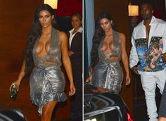 Kim Kardashian shows off her body in another metallic sheath as she and hubby Kanye West left for his Miami concert.