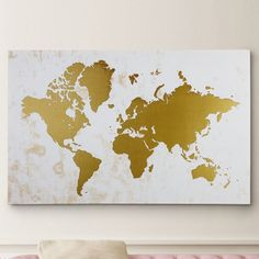 """Found it at Wayfair - """"Champaign Gold Map"""" Graphic Art on Wrapped Canvas Framed World Map, Gold World Map, World Map Wall Art, Teen Wall Art, Art Wall Kids, Map Canvas, Canvas Wall Art, Canvas Size, Canvas Fabric"""