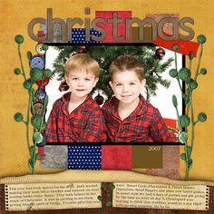 Christmas scrapbook layout: yellow background, by Kim2002