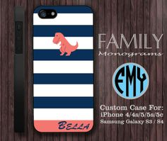 blue white stripes monogram hard plastic case by familymonogram, $15.99