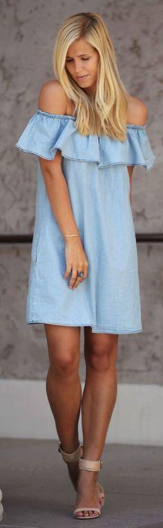 #spring #fashion #denim #outfitideas | Ruffle Denim Off Shoulder Little Dress