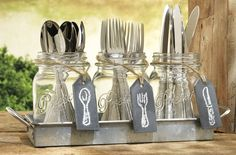 Set of 3 Clear Glass Mason Jars with Hanging Chalkboards on Galvanized Tray with Handles, Flatware Caddy Organizer Set for Home & Parties Cutlery Caddy, Galvanized Tray, Creation Deco, Mason Jar Centerpieces, Mason Jar Candle Holders, Utensil Holder, Silverware Holder, Mason Jar Crafts, Mason Jar Party