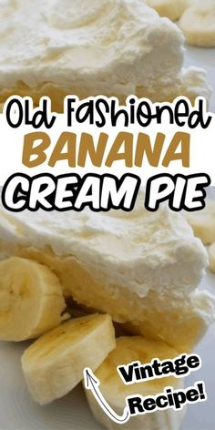 This banana cream pie recipe is the best vintage dessert to try! The Inspiration Edit shows you how to create a perfect banana dessert with just a few ingredients. If you are looking for a dessert to try this summer, then this is it! Make banana cream pie today! Old Fashioned Banana Cream Pie Recipe, Banana Pie Recipe, Easy Banana Cream Pie, Banana Recipes, Bannana Cream Pie, Banana Dessert, Pie Dessert, Dessert Recipes, Easy Pie Recipes