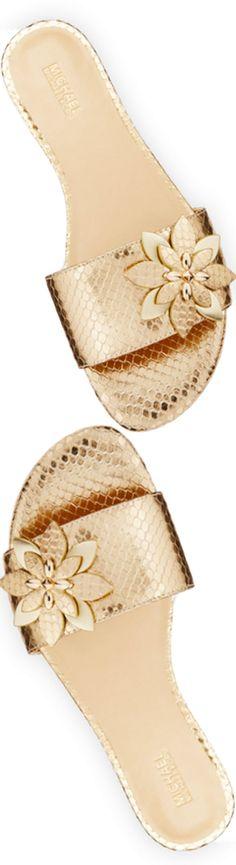 MICHAEL Michael Kors Heidi Floral Flat Slide Sandal, Pale Gold