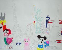 """""""ANSAMMLUNG VON WELT"""", 2012 Filzstift und Acryl auf Leinwand, 150 x 180 cm Snoopy, Kids Rugs, Character, Collection, Home Decor, Canvas, World, Homemade Home Decor, Kid Friendly Rugs"""